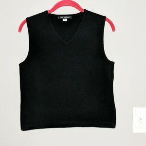 St. John Black Sleeveless V Neck Shirt Small